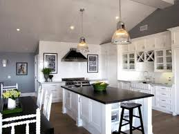 Gray And Yellow Kitchen Decor - vaulted ceiling design ideas two yellow round bar stools island