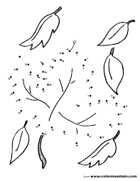 dot to dot leaf coloring sheet create a printout or activity