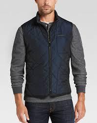 pronto uomo navy modern fit quilted vest s vests