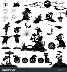black and white halloween pumpkin clipart halloween holiday cartoon set objects animals stock vector