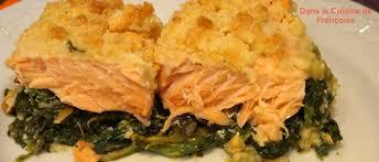 cuisiner poisson surgelé crumble de saumon aux epinards surgelés dans la cuisine de françoise