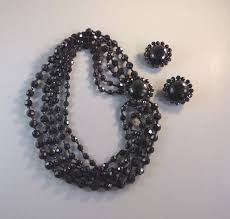 black glass necklace images Amourelle black glass beads necklace earrings by frank hess jpg