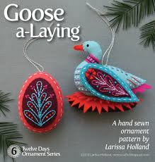 goose a laying pdf pattern for a sewn wool felt ornament