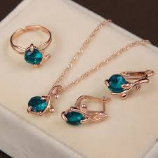 blue crystal necklace set images Fashion wedding accessories gold color sea blue crystal jewelry jpg