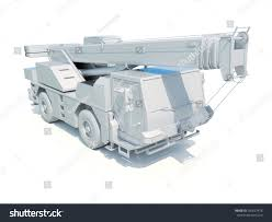 concept work truck truck mounted crane on white construction stock illustration
