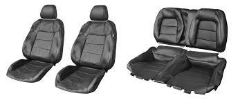 Seat Upholstery 2015 2017 Mustang Coupe Genuine Ford Black Leather Front U0026 Rear
