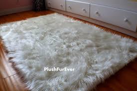 White Skin Rug Flooring Polar Bear Fur Rug Fake Fur Rugs Faux Bear Skin Rugs