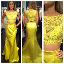 2016 cheap prom dresses mermaid yellow two 2 pieces lace