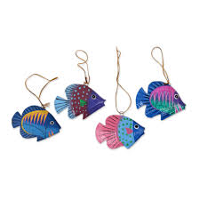 artisan crafted wood fish ornaments from bali set of 4 rainbow