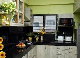 green kitchen wall with black tile backsplash and countertops