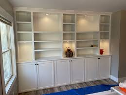 how are base cabinets made crafted built in wall shelving with base cabinet with