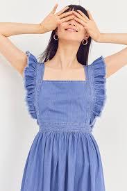 Denim Blue by Kimchi Blue Denim Ruffle Apron Midi Dress Urban Outfitters