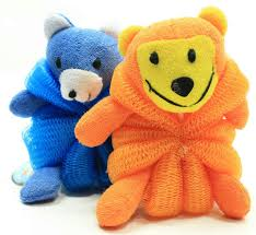 amazon com kids mesh sponge bath and shower loofah lion and bear