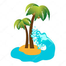 tropical island and coconut palms vector icon u2014 stock vector