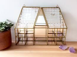 Wall Mounted Curio Cabinet Glass House Shelf Vintage Brass U0026 Glass Display Case Mirror Wall