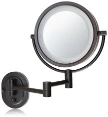 wall mounted hardwired lighted makeup mirror amazon com jerdon hl65bzd 8 inch lighted direct wire wall mount