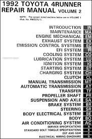 toyota 4runner repair 1992 toyota 4runner repair shop manual set original