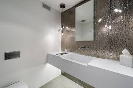 Powder Room Mississauga - wall mount toilet powder room contemporary with wall mounted