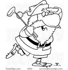 cartoon coloring art santa golfing 432 ron leishman