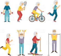 vector cartoon sport active old people stock vector art 520938060