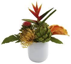 Faux Flower Arrangements Tropical Faux Floral Arrangement With White Vase Tropical