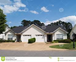 new one story small white vinyl duplex homes stock image image