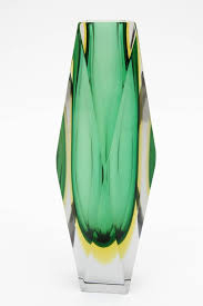 Yellow Glass Vase Giant Mandruzzato Triple Cased Green And Yellow Faceted Murano