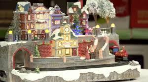 large village scene christmas decoration with led lighting and