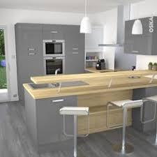 plans de cuisines ouvertes cuisine grise moderne façade stecia gris brillant volet roulant