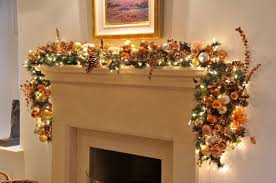 interior creative garland on fireplace home design