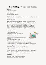 Technician Resume Sample by Resume Samples Low Voltage Technician Resume Sample