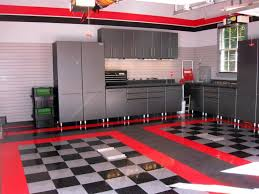 modern grey and red garage paint color ideas with white lamp and