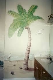 palm tree bathroom decor ideas captivating bathroom decoration using dark brown granite bathroom vanity tops including oval white ceramic bathroom sinks and palm tree mural painting ideas