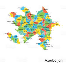 Spain Regions Map by Azerbaijan Color Map With Regions And Names Stock Vector Art