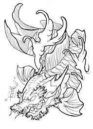 angry outline koi fish dragon tattoo design by eltri