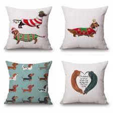 Sofa Pillow Cases Aliexpress Com Buy Dachshund Cushion Cover Christmas Festival