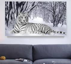 2017 white tiger winter landscape giclee print canvas wall art for