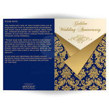 Invitation Card Printing Services Navy Ivory And Gold Damask Scrolls Any Anniversary Invitation
