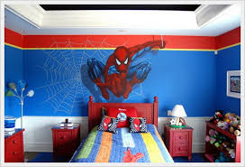 painted headboard cool spiderman theme kids bedroom with red painted headboard home
