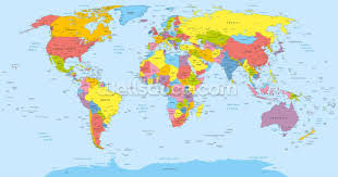 China World Map by Colourful World Map Wallpaper Wall Mural Wallsauce Canada