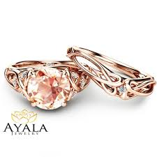 unique engagement ring settings 2 carat morganite engagement rings 14k rose gold ring set unique