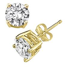 gold diamond stud earrings simulated diamond studs cubic zirconia earrings studs gold cz