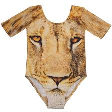 lion print popup shop little girls beige lion print dance gymnastics leotard