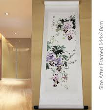 framed wall murals promotion shop for promotional framed wall rice paper hand painted chinese original art watercolor purple flower ink wall murals wall scroll damask picture framed painting
