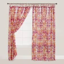Pink And Orange Curtains Pink And Orange Ikat Crinkle Voile Curtains Set Of 2 World Market