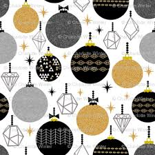 ornaments black gold glitter triangles fabric