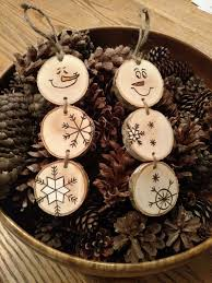 wood burned snowman ornaments stacked snowman