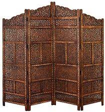 4 panel hand carved indian screen wooden leaves screen room