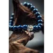 blue bead bracelet images Blue lapis lazuli beaded bee bracelet jpg