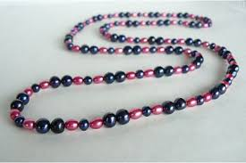 colour pearl necklace images Pink long pearl necklace JPG